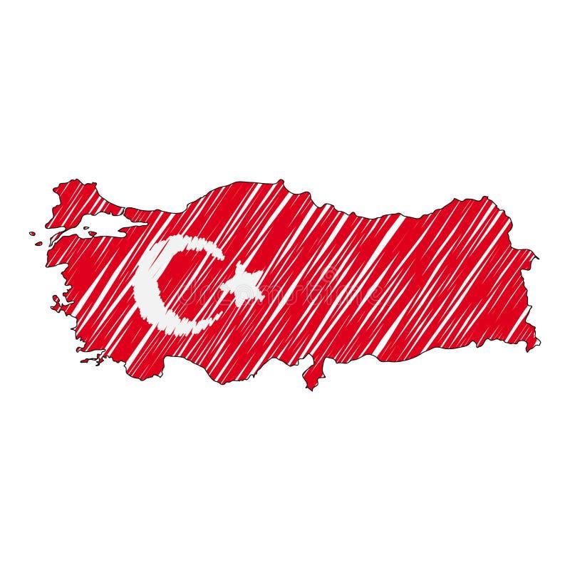 De kaarthand getrokken schets van Turkije De vectorvlag van de conceptenillustratie, de tekening van kinderen, gekrabbelkaart De  stock illustratie