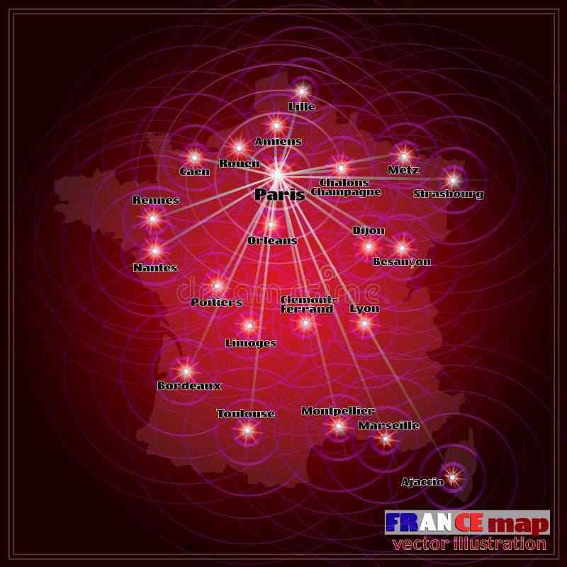 De kaartillustratie van Frankrijk Vector stock illustratie