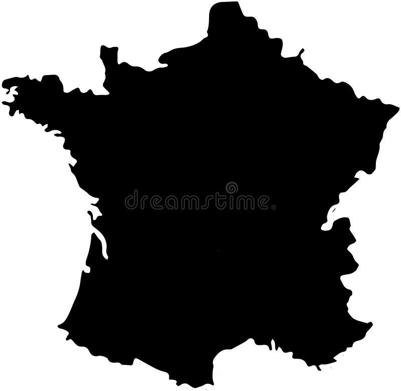 De kaartillustratie van het land van Frankrijk royalty-vrije illustratie