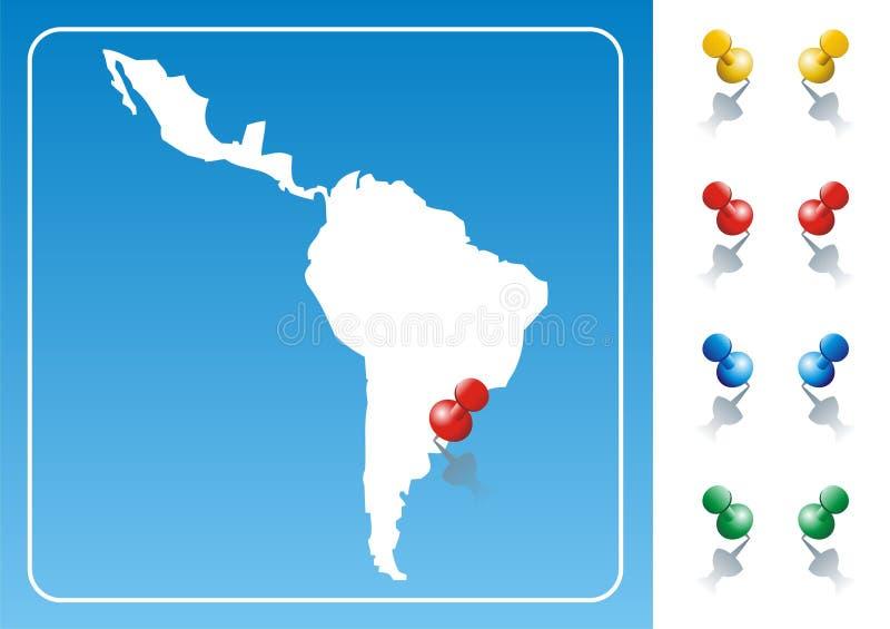 De kaartillustratie van Latijns Amerika vector illustratie