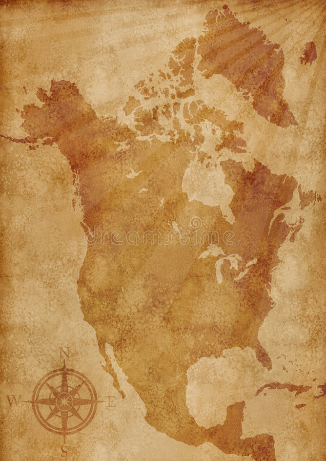 De kaartillustratie van Noord-Amerika royalty-vrije illustratie