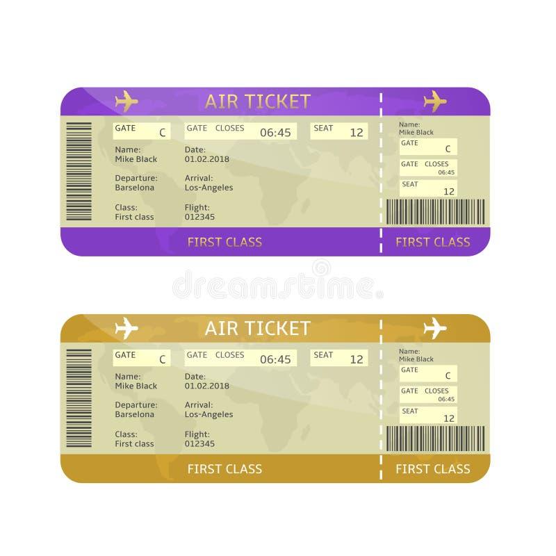 De kaartjes van de luchtvaartlijn instapkaart royalty-vrije illustratie