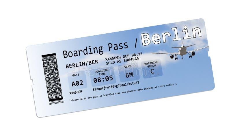 De kaartjes van de luchtvaartlijn instapkaart aan Berlijn op wit wordt geïsoleerd dat royalty-vrije illustratie