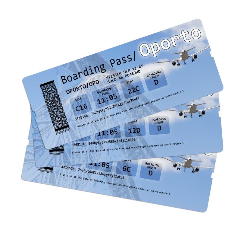 De kaartjes van de luchtvaartlijn instapkaart aan ` Porto ` op wit wordt geïsoleerd dat De inhoud van het beeld wordt totaal uitg stock foto