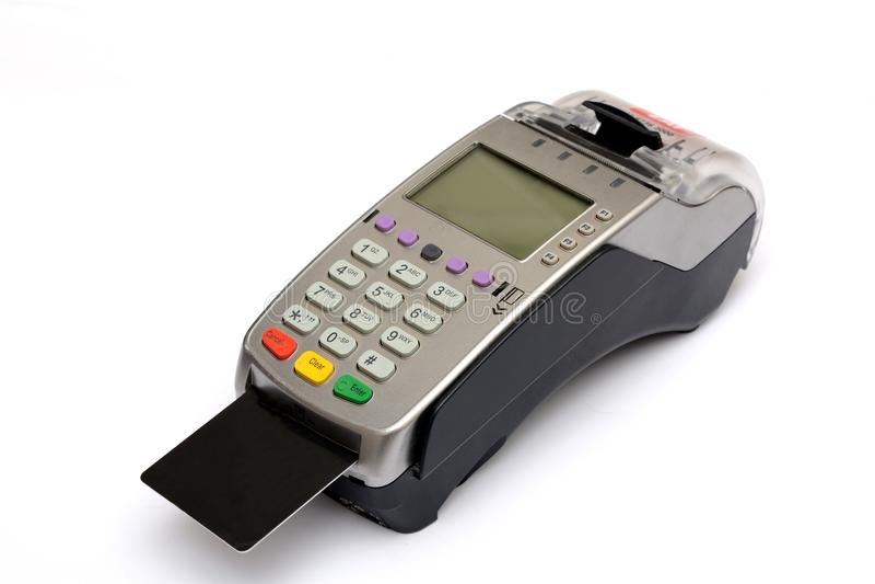 De Kaartlezer Machine van het kredietdebet op Geïsoleerde witte achtergrond stock fotografie