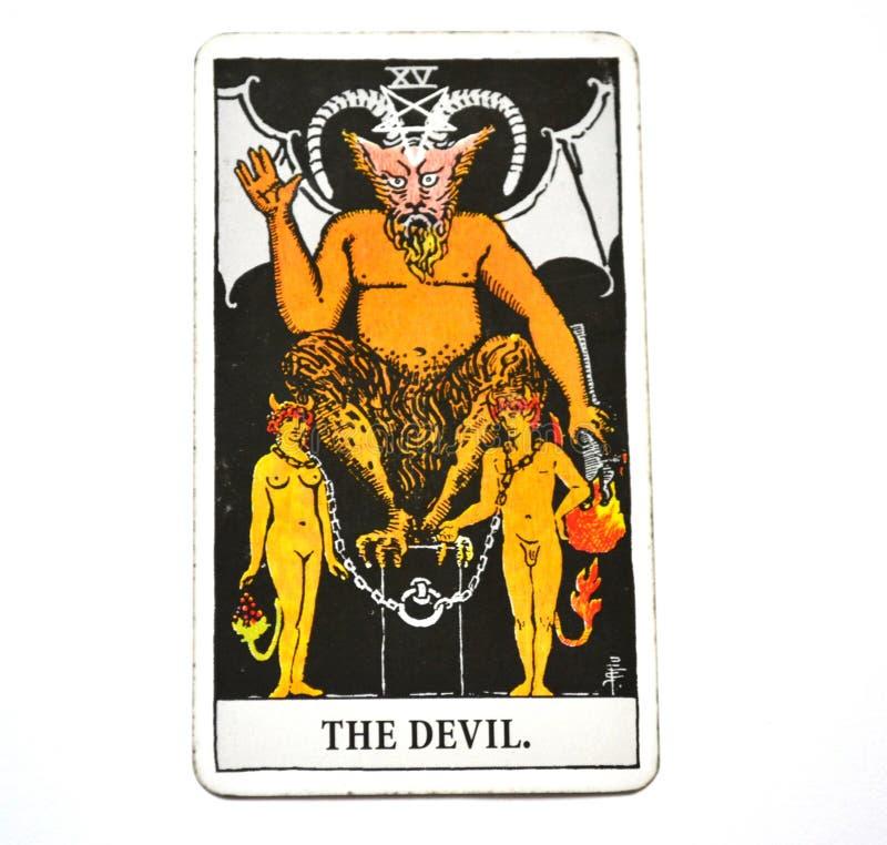 De de Kaartlijfeigenschap van het Duivelstarot, verleiding, knechting, materialisme, verslaving Witte Bachground stock foto's