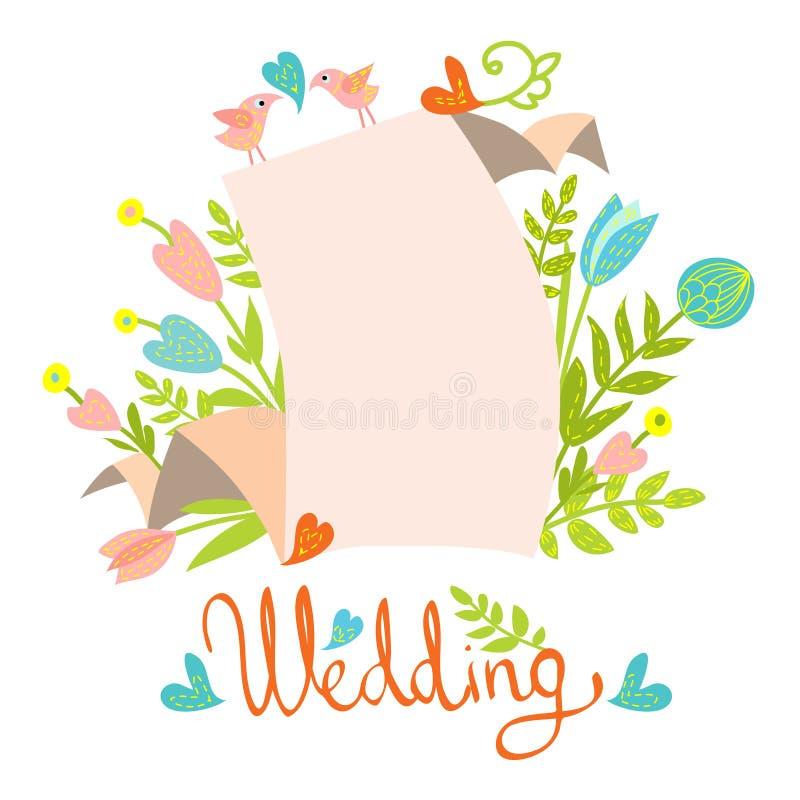 De kaartmalplaatje van de huwelijksuitnodiging vector illustratie
