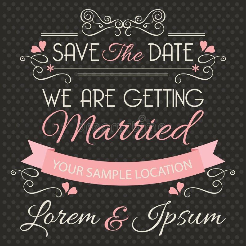 De kaartmalplaatje van de huwelijksuitnodiging royalty-vrije illustratie