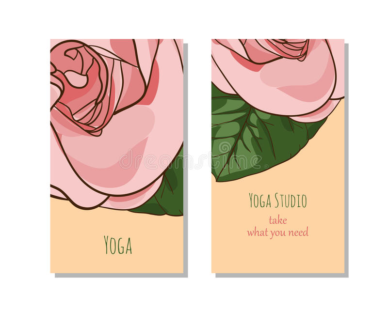 De kaartmalplaatje van de yogastudio stock foto's