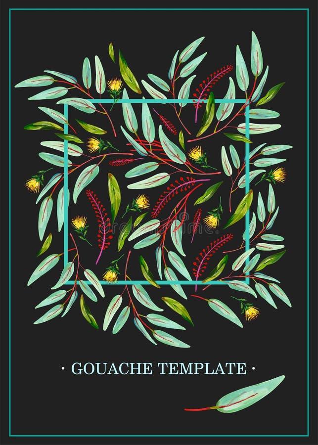 De kaartmalplaatje van de gouache natuurlijk uitnodiging met groene bladeren, gele bloemen en roze bloementakken op een donkere a stock foto