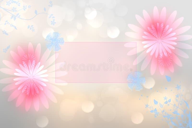De kaartmalplaatje van de groet De abstracte feestelijke Mother's-kaart van de Daggroet met roze en blauwe bloemen en een leeg  royalty-vrije illustratie