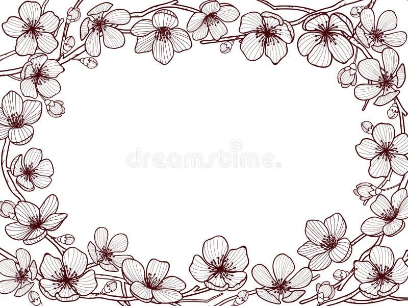 De kaartmalplaatje van de hand drawm lente De lente komt en gaat op boomtakken weg en plaatst voor uw tekst in het centrum vector illustratie