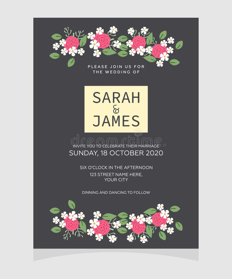 De kaartmalplaatje van de huwelijksuitnodiging met de bloem bloemenachtergrond van de koperkleur De uitnodiging van het huwelijk  stock afbeeldingen