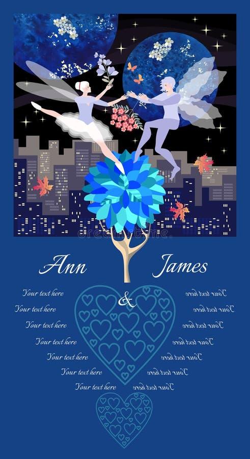 De kaartmalplaatje van de huwelijksuitnodiging met dansende elf Het landschap van de nachtstad, rode en witte bloemen, esdoornbla royalty-vrije illustratie
