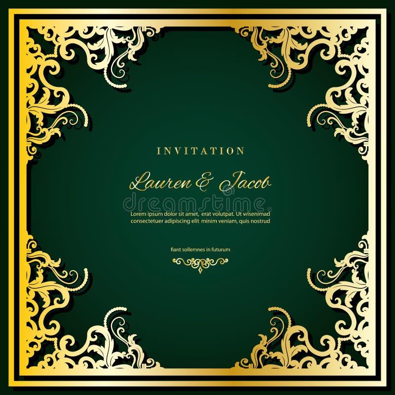 De kaartmalplaatje van de huwelijksuitnodiging met laser scherp kader Het vierkante filigraanontwerp van de knipselenvelop Gouden stock illustratie