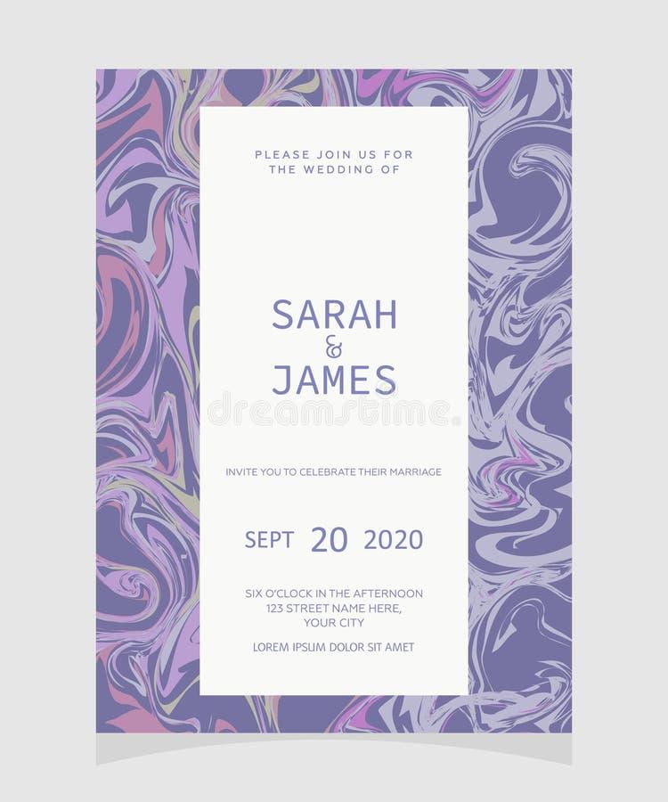 De kaartmalplaatje van de huwelijksuitnodiging met Marmeren textuurachtergrond De uitnodiging van het huwelijk Sparen de Datum Ve royalty-vrije illustratie