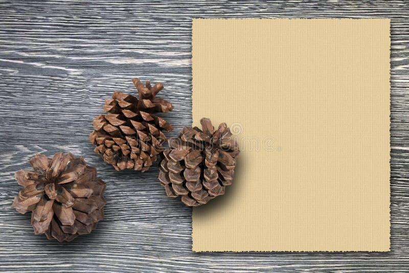 De kaartmalplaatje van de Kerstmisgroet met drie cederkegels tegen grijze houten raad en leeg uitstekend blad van document royalty-vrije stock fotografie