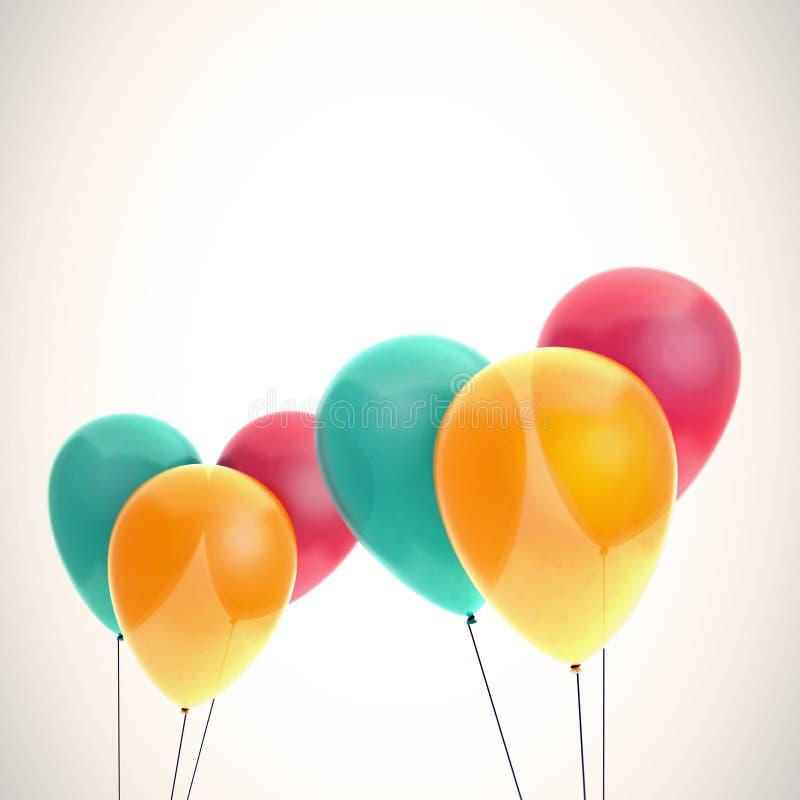 De kaartmalplaatje van kleurenballons royalty-vrije stock afbeelding