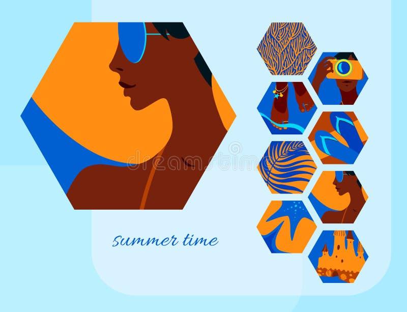 De kaartmalplaatje van de de zomertijd met portret van jonge gelooide mooie vrouw in zonnebril en hoed Vector moderne verfraaide  vector illustratie