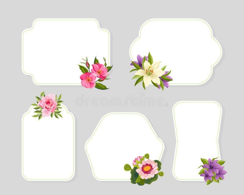 De de Kaartmalplaatjes van bloemkaders met Bloeiende Geplaatste Bloemen, Elegant Bloemenontwerpelement kunnen voor Banners, Affic stock illustratie