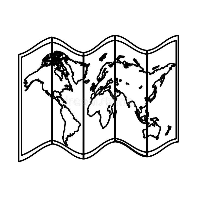 De kaartobjecten van de lijn globale aardrijkskunde informatie vector illustratie