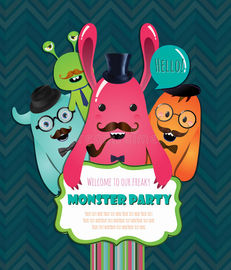 De Kaartontwerp van de monsterpartij. Vectorillustratie stock illustratie