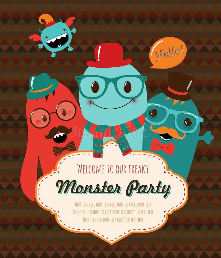 De Kaartontwerp van de monsterpartij. Vectorillustratie royalty-vrije illustratie