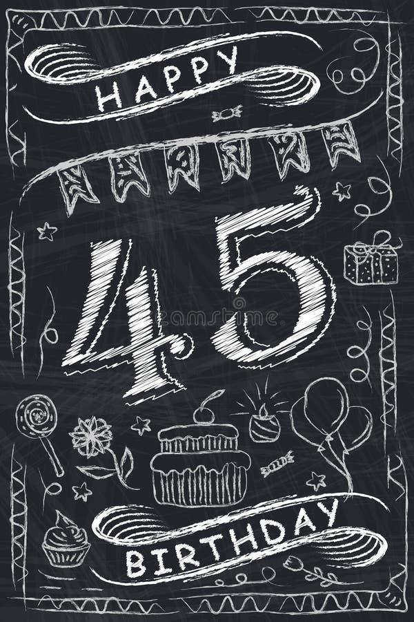 De Kaartontwerp van de verjaardags Gelukkig Verjaardag op Bord vector illustratie