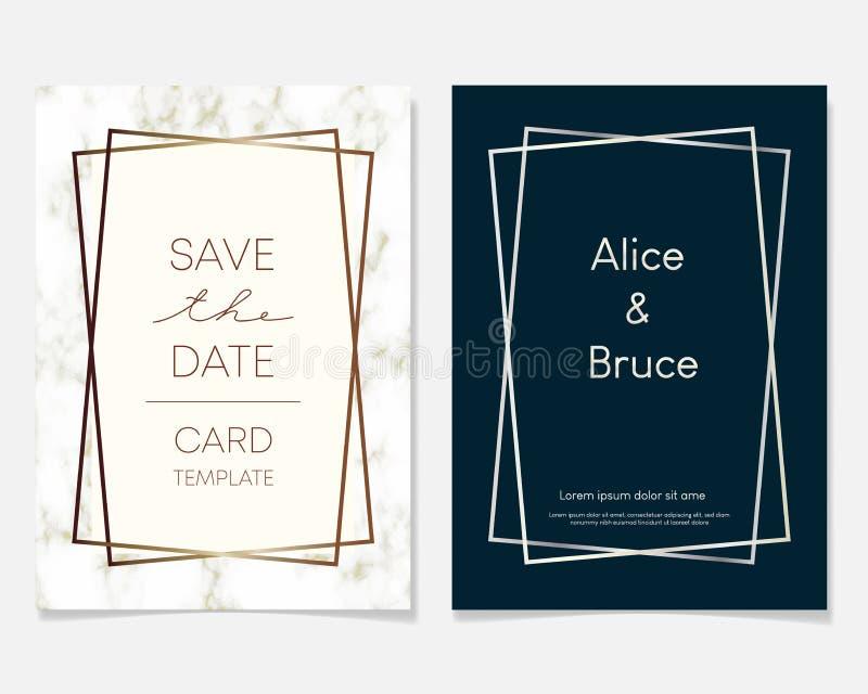 De kaartontwerp van de huwelijksuitnodiging met gouden kaders en marmeren textuur Luxemarmer met gouden geometrische kaderontwerp stock illustratie