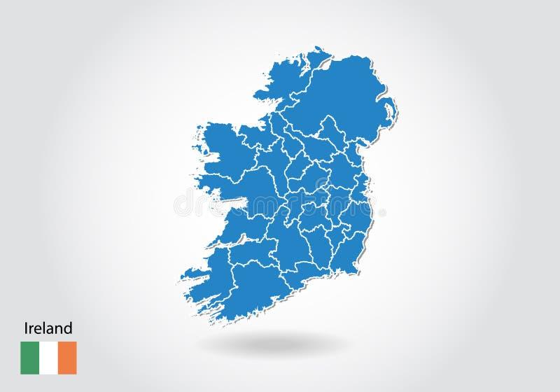 De kaartontwerp van Ierland met 3D stijl De blauwe kaart van Ierland en Nationale vlag Eenvoudige vectorkaart met contour, vorm,  royalty-vrije illustratie
