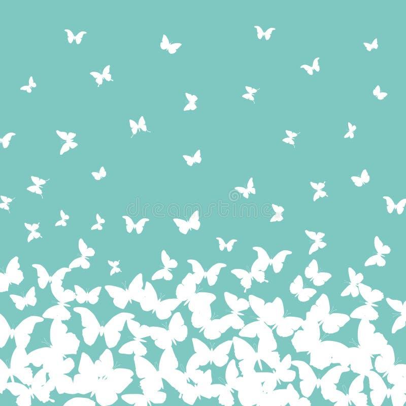 De kaartontwerp van de de lentezomer banner, witte vlinder op hemel blauwe turkooise achtergrond Vector vector illustratie