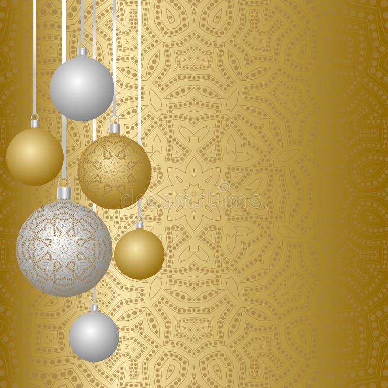De kaartontwerp van de nieuwjaargroet met Kerstmisballen die op lint hangen Inzameling van Snuisterijen met ornamenten stock illustratie
