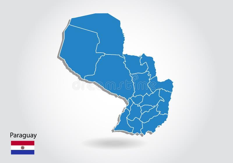 De kaartontwerp van Paraguay met 3D stijl De blauwe kaart van Paraguay en Nationale vlag Eenvoudige vectorkaart met contour, vorm stock illustratie