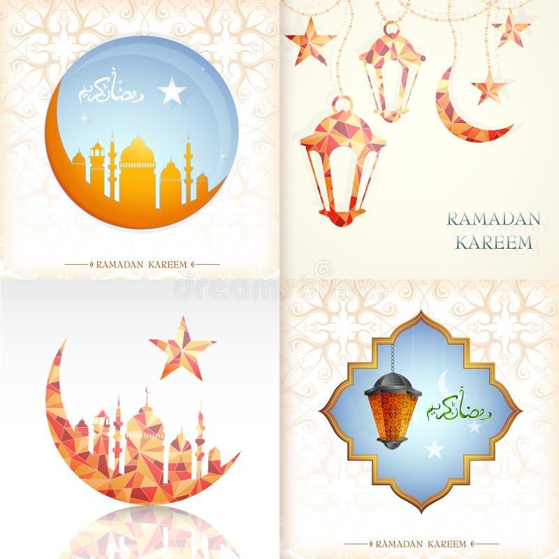 De kaartontwerpen van de Ramadangroet stock illustratie