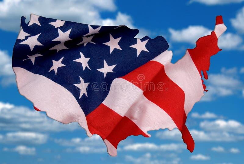 De kaartoverzicht van de V.S. met een illustratie van de vlagfoto royalty-vrije stock foto's