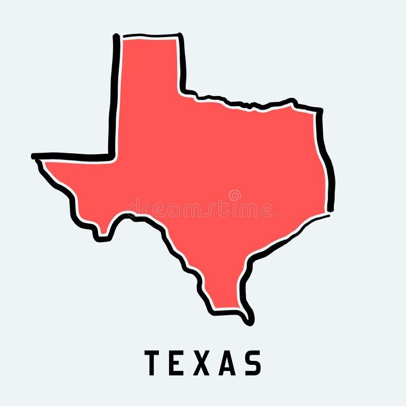 De kaartoverzicht van Texas vector illustratie