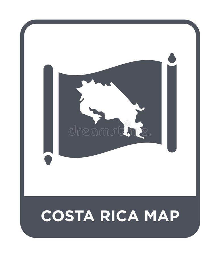 de kaartpictogram van Costa Rica in in ontwerpstijl de kaartpictogram van Costa Rica op witte achtergrond wordt geïsoleerd die ee stock illustratie