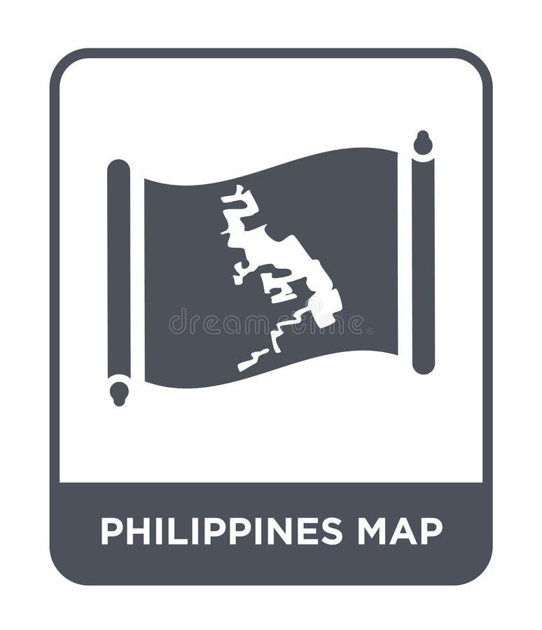 de kaartpictogram van Filippijnen in in ontwerpstijl de kaartpictogram van Filippijnen op witte achtergrond wordt geïsoleerd die  stock illustratie