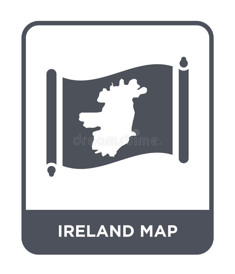 de kaartpictogram van Ierland in in ontwerpstijl de kaartpictogram van Ierland op witte achtergrond wordt geïsoleerd die eenvoudi royalty-vrije illustratie
