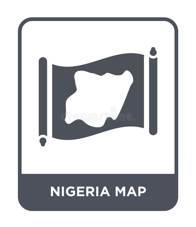 de kaartpictogram van Nigeria in in ontwerpstijl de kaartpictogram van Nigeria op witte achtergrond wordt geïsoleerd die eenvoudi stock illustratie