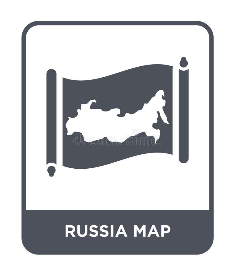 de kaartpictogram van Rusland in in ontwerpstijl de kaartpictogram van Rusland op witte achtergrond wordt geïsoleerd die eenvoudi vector illustratie