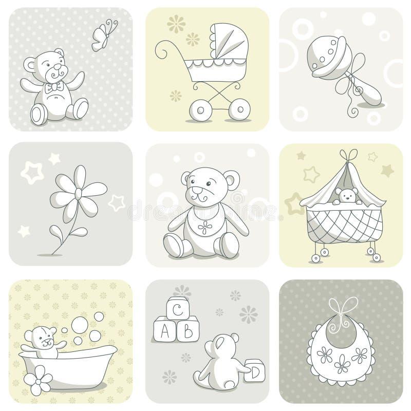 De kaartreeks van de baby royalty-vrije illustratie