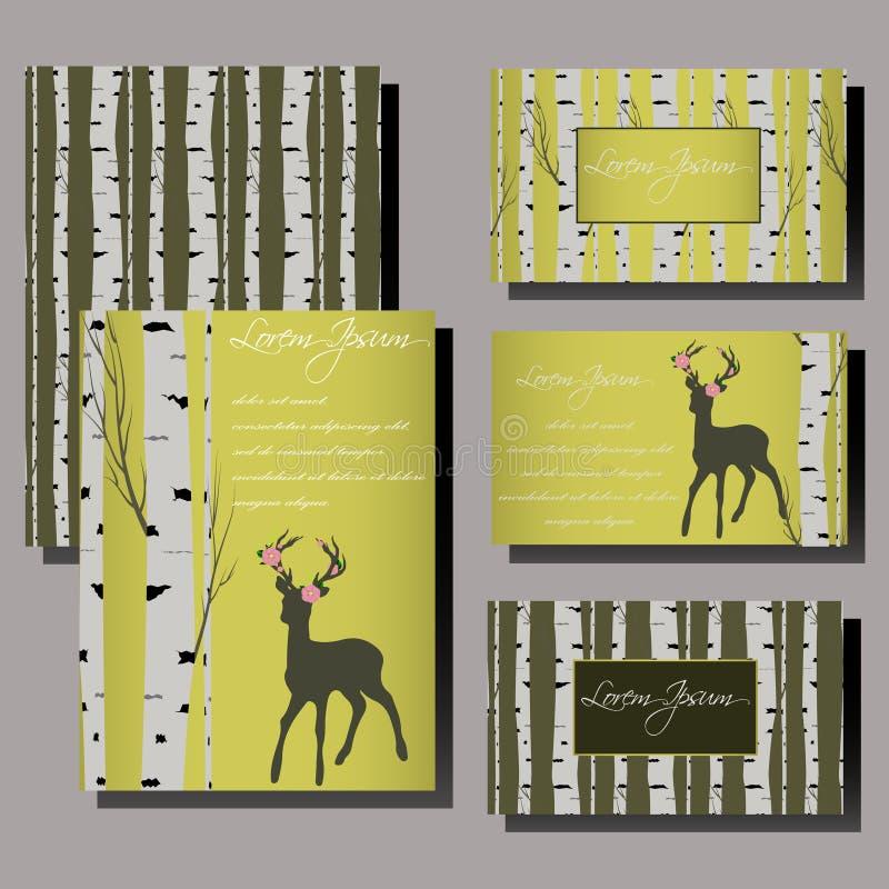 De kaartreeks van de huwelijksuitnodiging met van berkboom en herten Malplaatjes royalty-vrije illustratie