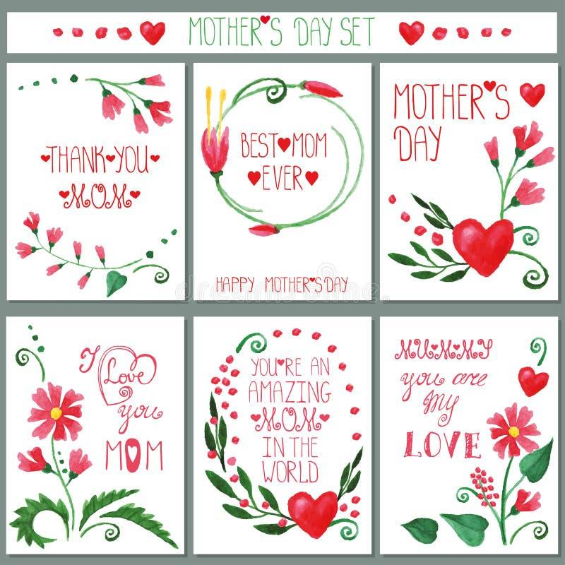 De kaartreeks van waterverf rode bloemen De dag van moeders royalty-vrije illustratie
