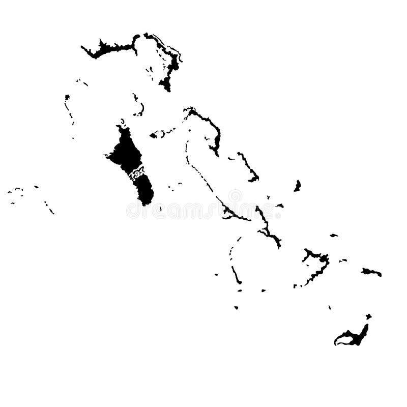 De kaartsilhouet van de Bahamas royalty-vrije illustratie