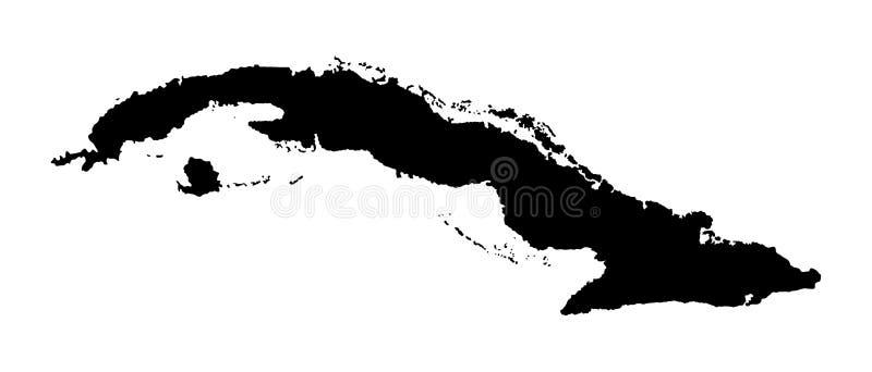 De kaartsilhouet van Cuba vector illustratie