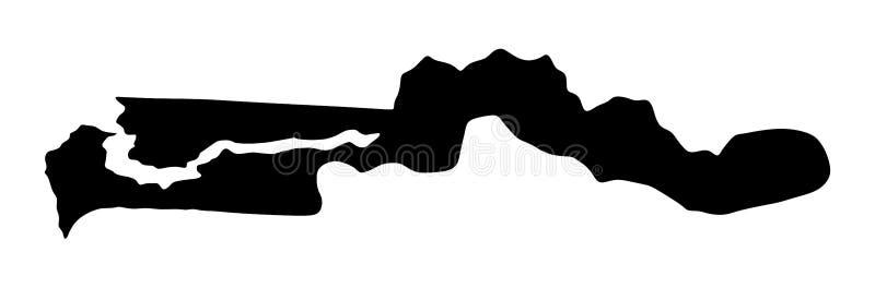 De kaartsilhouet van Gambia vector illustratie
