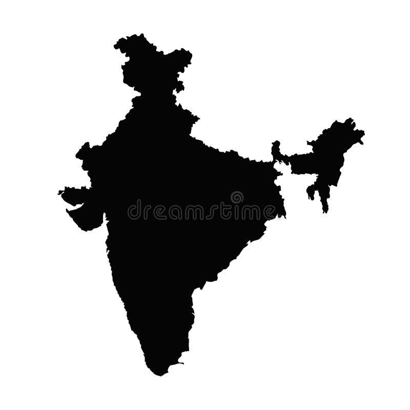De kaartsilhouet van India in zwarte op een witte geïsoleerde achtergrond vector illustratie