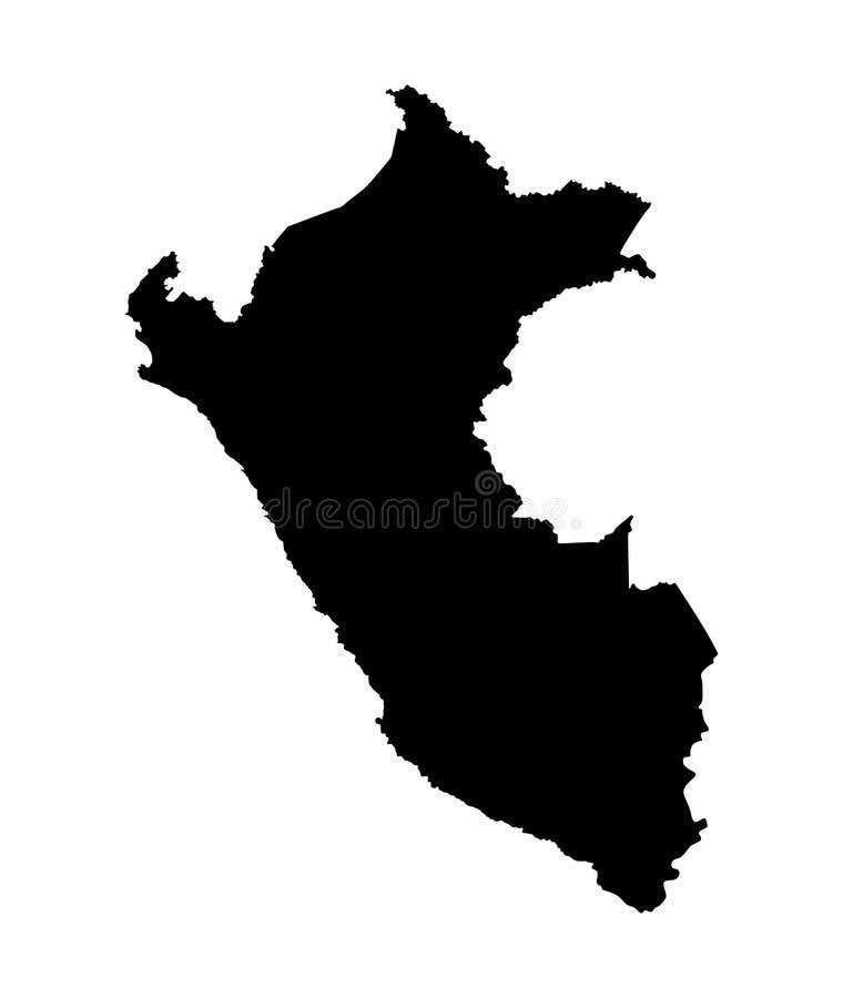 De kaartsilhouet van Peru stock illustratie