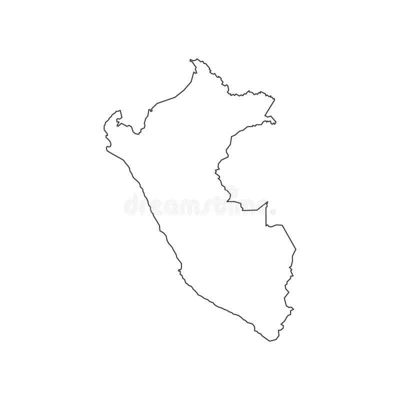 De kaartsilhouet van Peru vector illustratie